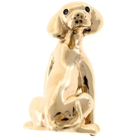 Pinset Lab sapphire gold labrador retriever pin for sale at 1stdibs