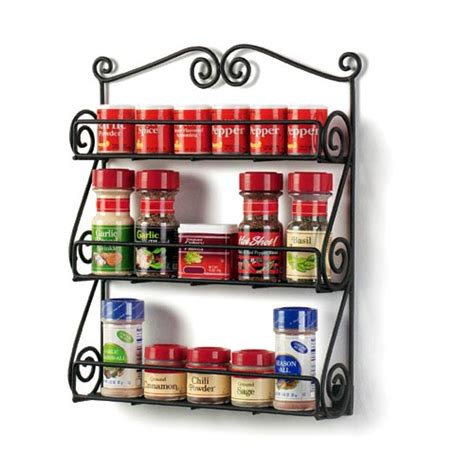 Wall Mounted Spice Rack With Spices Scroll Wall Mount Spice Rack In Spice Racks