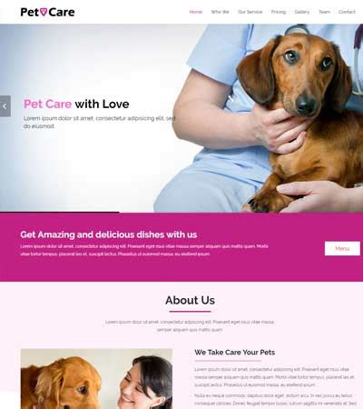 Pet Care Bootstrap Html5 Website Template Free Download Pet Care Website Templates
