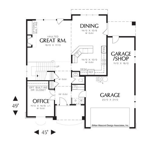 open great room floor plans mascord house plan 22140 the landon