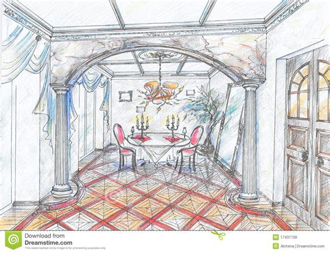 Sketch Of Dining Room by Sketch Of Interior Of Dining Room Royalty Free Stock