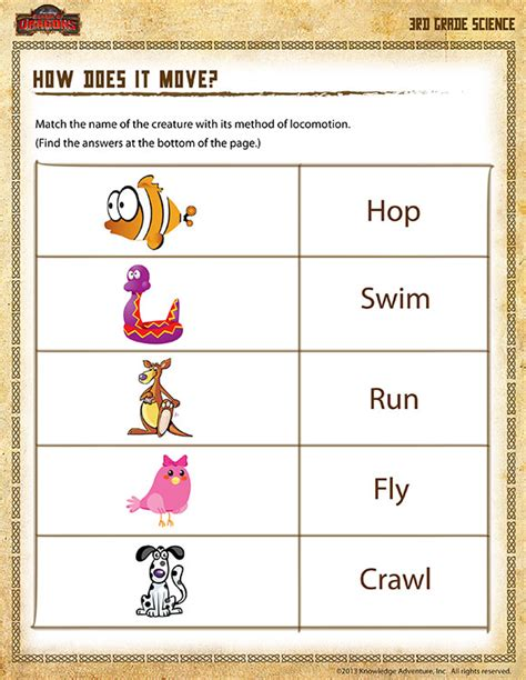 Second Grade Science Worksheets by How Does It Move View 3rd Grade Science Worksheets