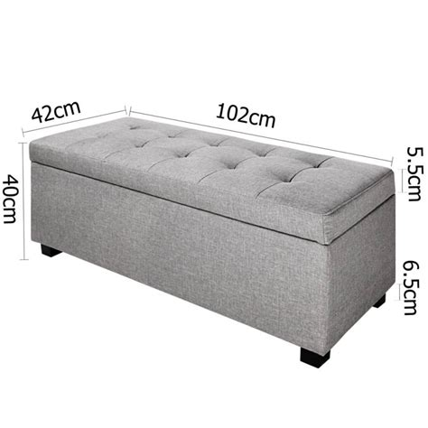 large fabric storage ottoman large fabric cushion top storage ottoman in grey buy