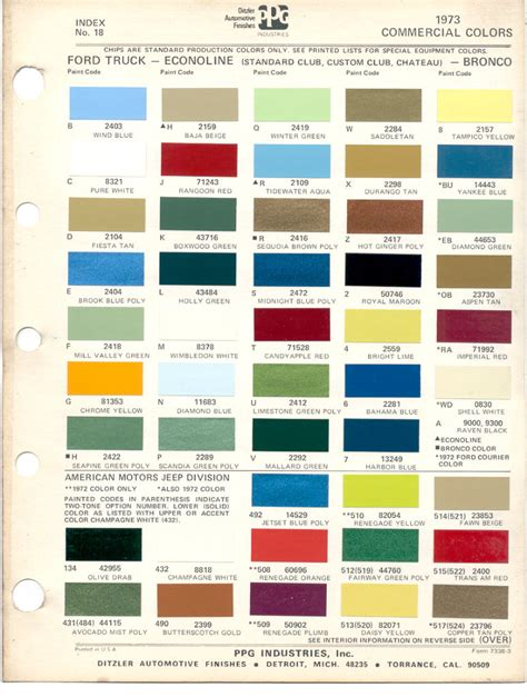 paint chips 1973 ford truck fleet commercial econoline club chateau bronco