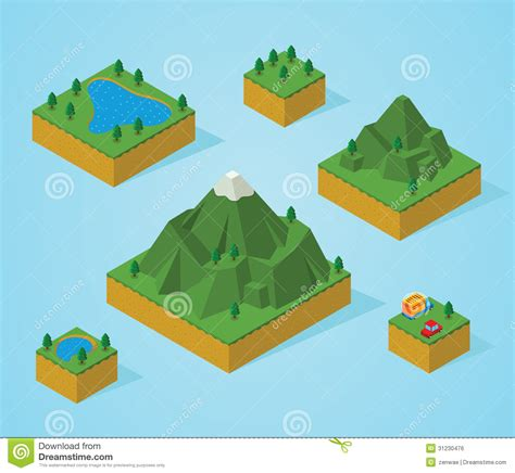 Mountain View Floor Plans Pre Assembly Isometric Map Mountain Stock Vector Image