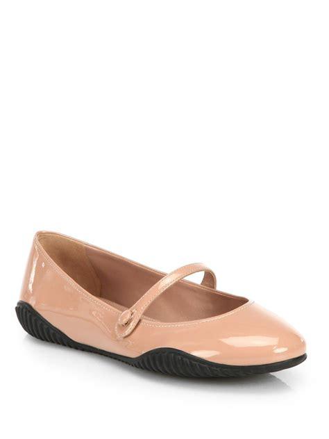 Prada Flats prada patent leather ballet flats in lyst