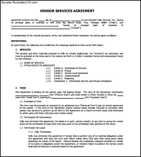 Sle Letter Of Service Agreement Vendor Service Agreement Letter Free Pdf Sle Templates