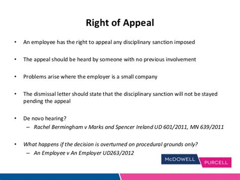 Appeal Letter On Unfair Dismissal Investigations Disciplinary Procedures Slides 02 04 14