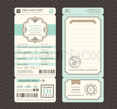 ticket wedding invitation template vintage style bordkarte ticket