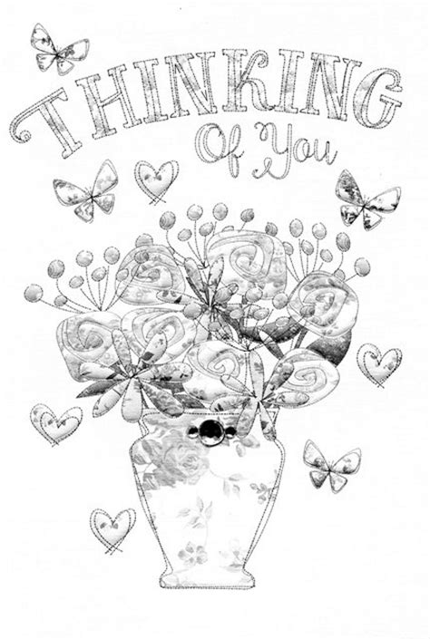 card template thinking of you thinking of you coloring cards coloring pages
