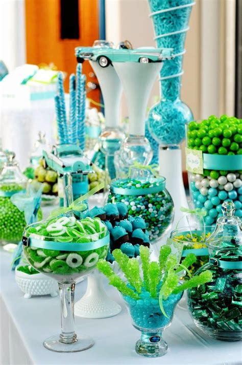 A Turquoise And Lime Green Wedding Wedding Stuff Ideas Blue And Green Buffet