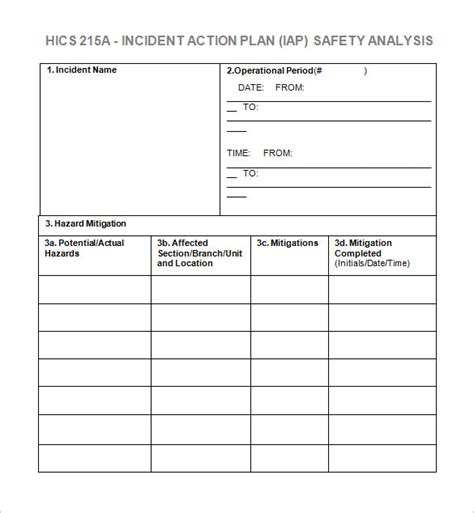 incident action plan template 7 free word excel pdf