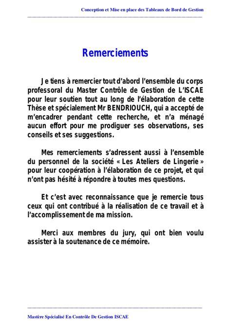 Exemple De Lettre De Remerciement Pour Mémoire Memoire Conception Mise En Place Tableaux De Bord Gestion