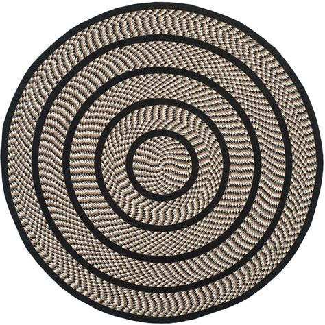 Safavieh Braided Ivory Black 6 Ft X 6 Ft Round Area Rug 6 Foot Area Rugs