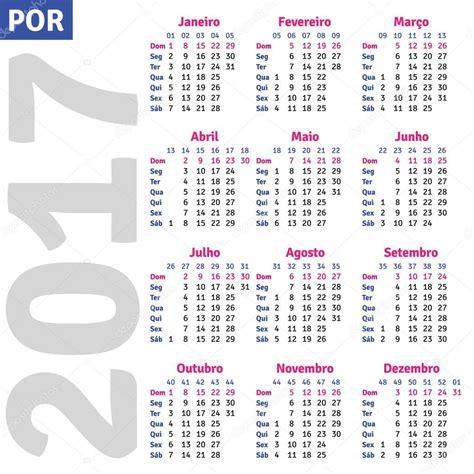 Calendario Brasileiro 2017 Portugu 234 S Brasileiro Calendar 2017 Vetor De Stock
