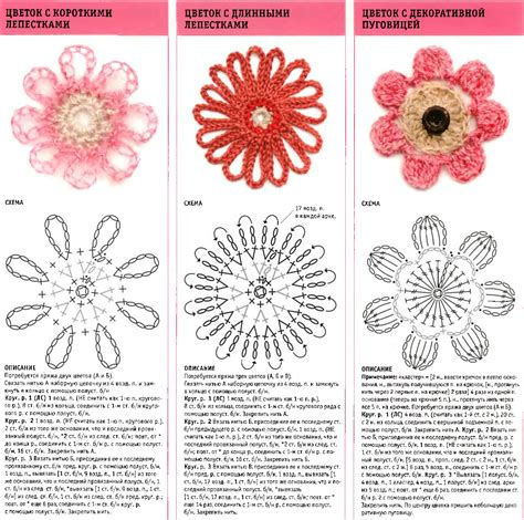 diagram crochet flower three flower crochet diagrams crochet kingdom