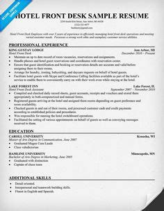 hotel front desk resume sle 1000 images about resume on resume exles creative resume and resume ideas