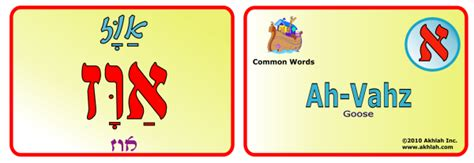 printable hebrew flash cards akhlah the jewish children s learning network goose