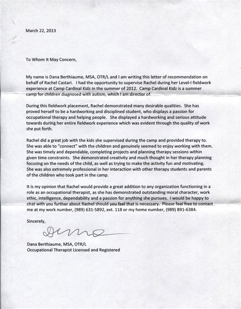 Recommendation Letter For Occupational Therapy Expressions Of Support Csatari S Occupational Therapy Portfolio