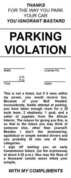 printable joke tickets parking tickets on pinterest ticket parking notes and