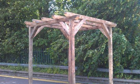reclaimed timber wood pergola gazebo pond cover 8ftx 8ft