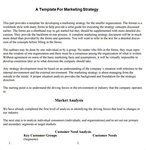 strategic marketing plan template 10 free word pdf