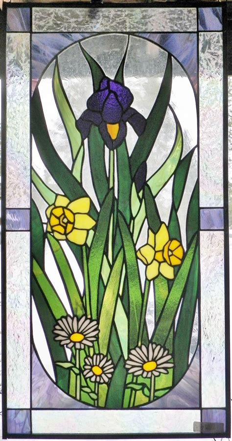 glass design flower evolution flower stained glass window iris daffodil daisies real