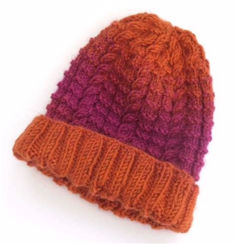 orange knit beanie knitted beanie s cable beanie hat in orange pink