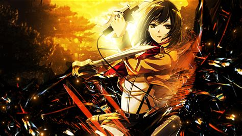 wallpaper anime hd attack on titan mikasa ackerman full hd wallpaper and background image