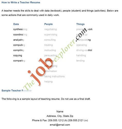 How To Write A Resume For Teachers by 7 How To Write Cv For Teaching Emt Resume