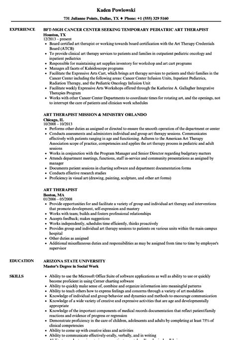 art therapist resume sles velvet jobs