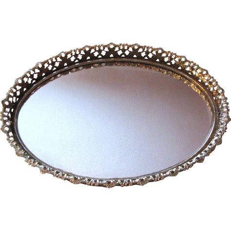 Mirrored Vanity Tray by Lovely Large Gilt Filigree Wall Or Vanity Mirrored Tray