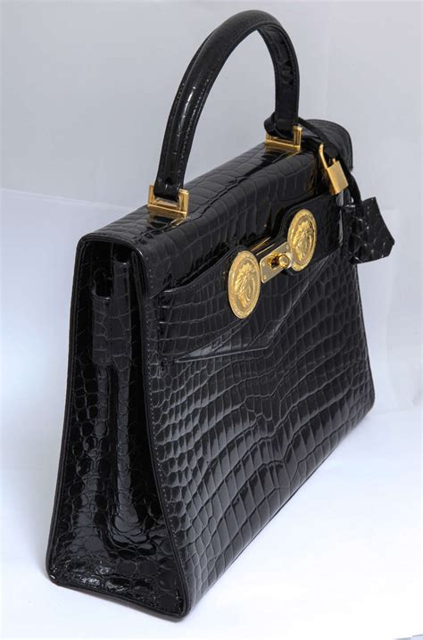 Secret Lockit Embossed Top Handle With Bag gianni versace croc embossed couture bag with medusas for