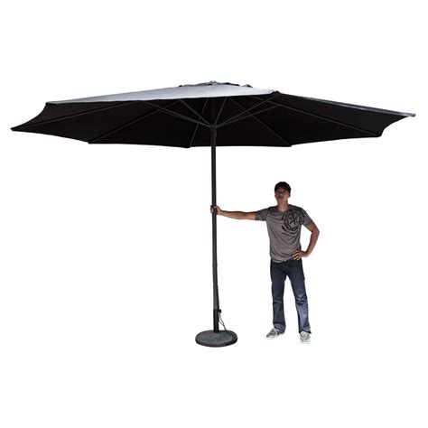13 Patio Umbrella 13 Ft Market Patio Garden Umbrella Aluminum Canopy Canvas Cover Black Ebay
