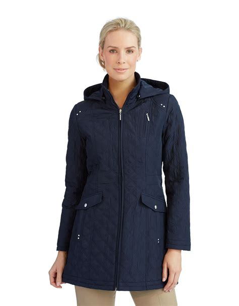 Quilted Barn Jacket S by Weatherproof Zip Front Barn Quilted Jacket In Blue Navy
