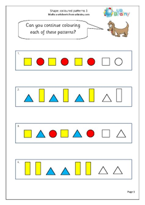 pattern year 1 numeracy shape colour patterns 1 geometry shape maths worksheets