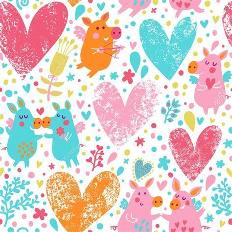 imagenes de corazones graciosos fondo rom 225 ntico con cerdos divertidos flores y corazones