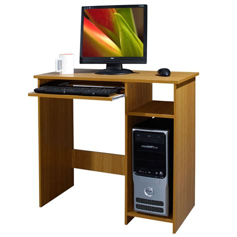 Computer Desk Workstation Wooden Computer Desk Basic Home Office Table Workstation Beech Wood Pc Laptop