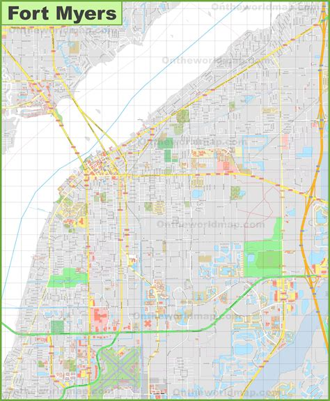 map of fort myers large detailed map of fort myers