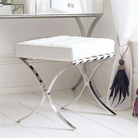 Leather Dressing Table Stool White Sovana Boutique