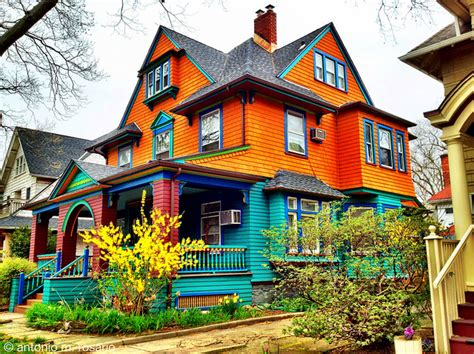 colorful houses  ditmas park  spring