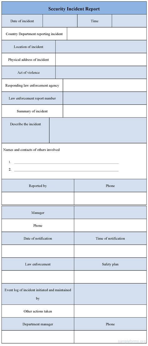 security incident report template word security incident report form sle forms