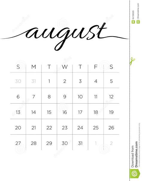 calend 225 agosto de 2017 mensal ilustra 231 227 o do vetor
