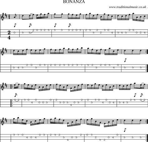 theme music bonanza folk and traditional music sheet music mandolin tab