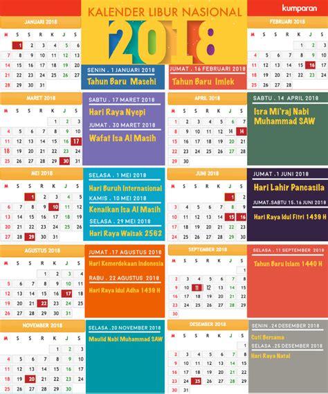 Kalender 2018 Menteri Kalender Libur Dan Cuti Bersama Tahun 2018 Kumparan
