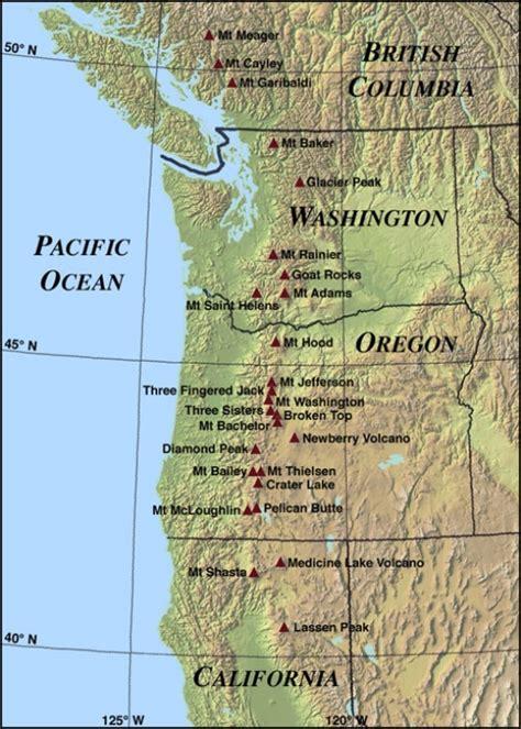map of oregon mountain ranges cascade mountain range map