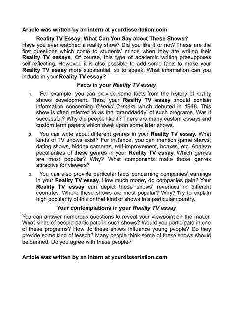 How Real Are Reality Shows Essay by Calam 233 O Reality Tv Essay What Can You Say About These Shows