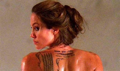 angelina jolie s tattoos pitt gets new tattoos india