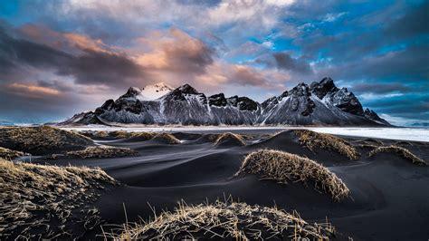 vestrahorn iceland winter landscape snowy mountains coast