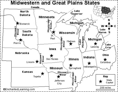 map of midwest states blank map of midwest states and capitals